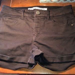 black , midrise shorts